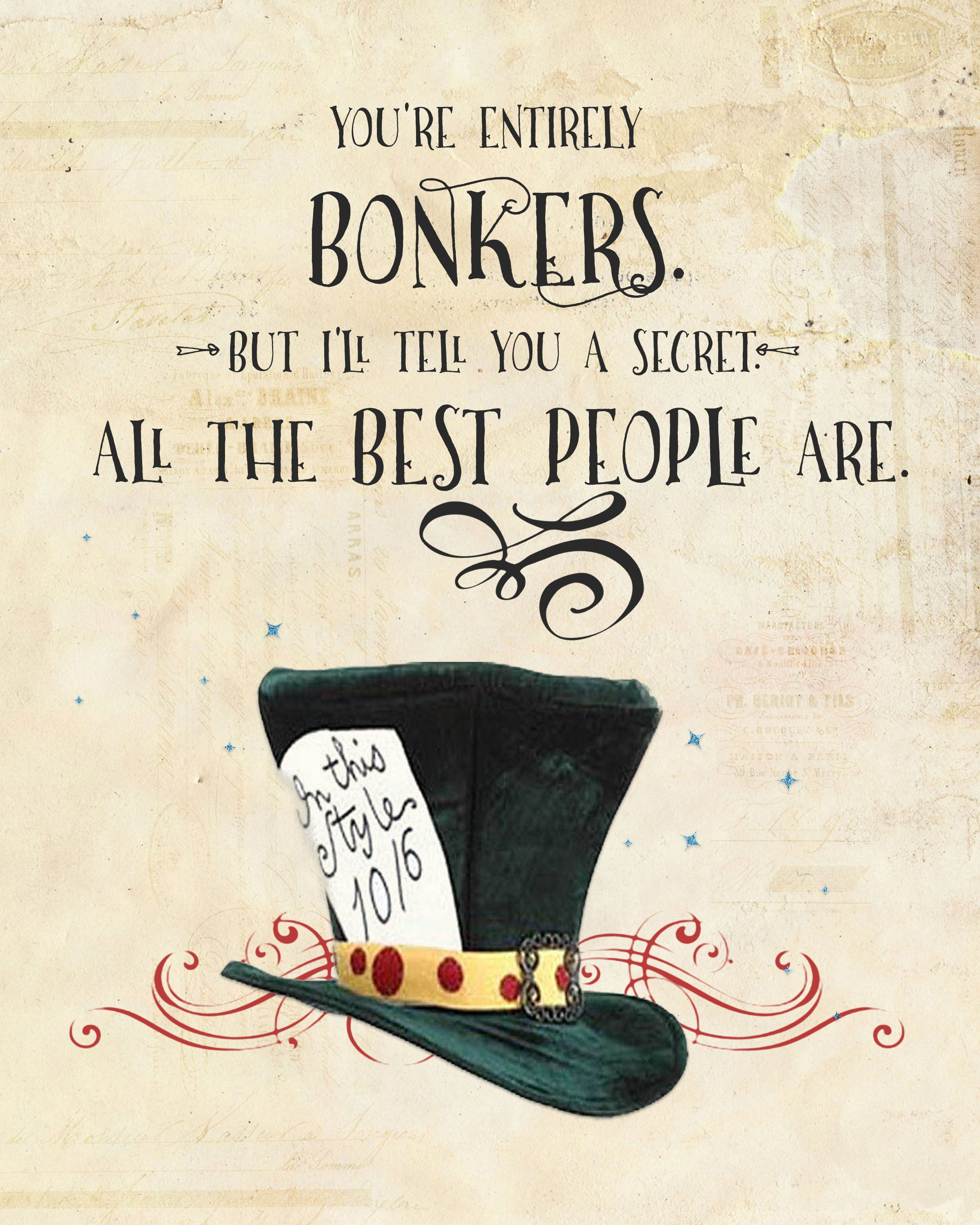 Alice In Wonderland Mad Hatter Quotes: Alice In Wonderland Printables - Google Search