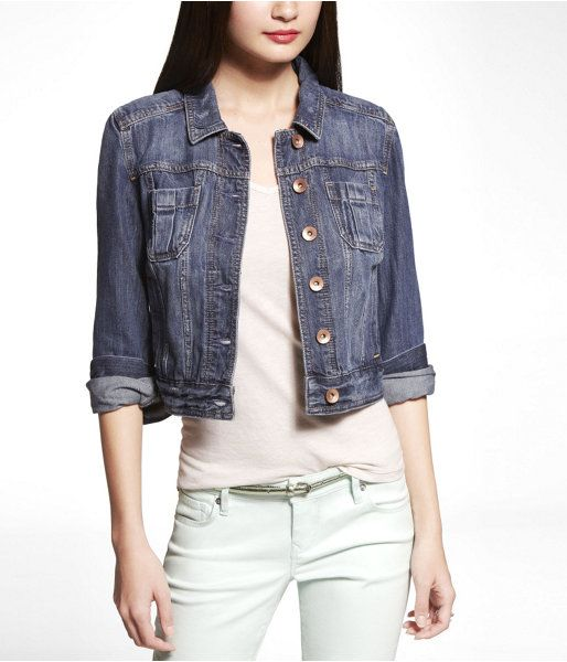 Express Womens Patch Pocket Denim Jacket Medium Wash, Large