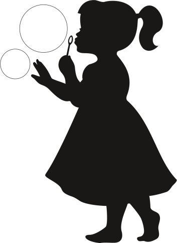 Cute little Girl Blowing Bubbles in 2020 | Silhouette art ...