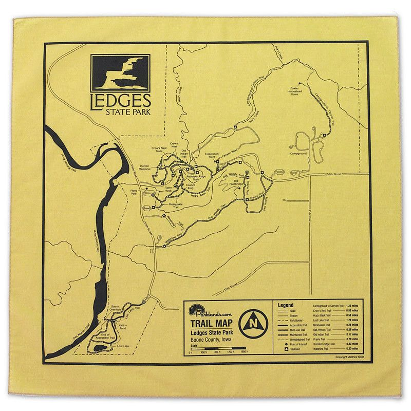 map of iowa state parks Ledges State Park Bandanna Khaki Iowa Iowaparks Parks State map of iowa state parks