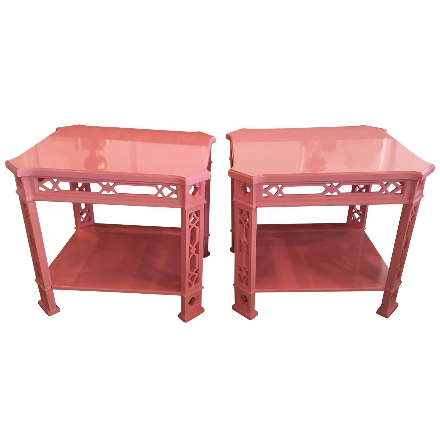 Phenomenal Pair Of Thomasville End Tables Pink End Side Lacque Gmtry Best Dining Table And Chair Ideas Images Gmtryco