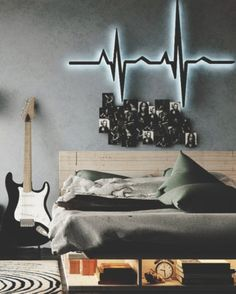 Quarto decorado com tema música