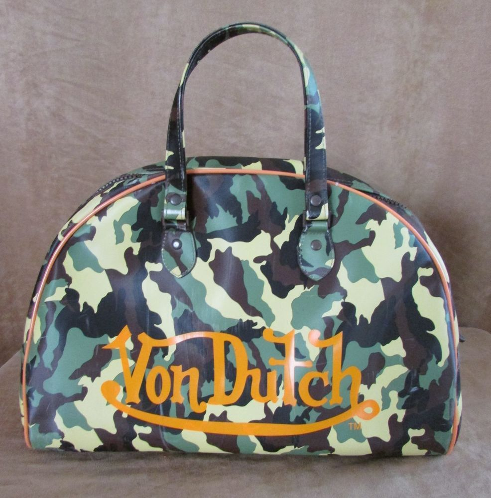 Von Dutch Camo Bowling Bag Tote Men Uni Kustommade Gym Storage Camoflauge Pvc Vondutch Dufflegymbag