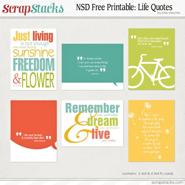 Free Quotes Journal Cards from ScrapStacks {coordinates with the DigiScrap Parade Freebies}