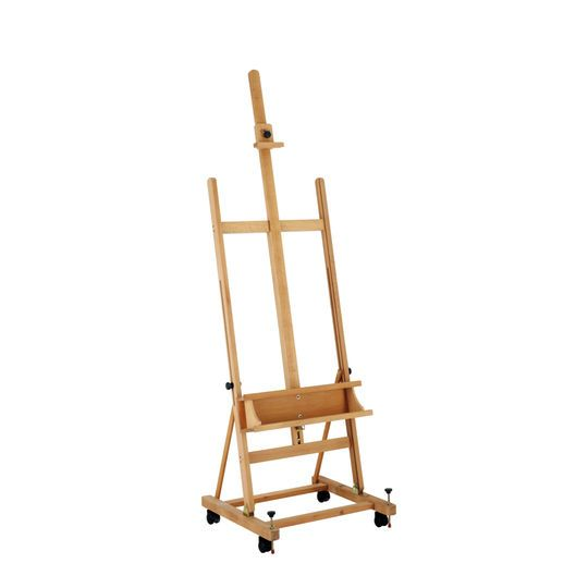 The Welland easel features a sturdy H-frame construction made from seasoned beechwood that's built for years of use. The easel is fitted with casters for ease of movement and folds flat for easy storage.
