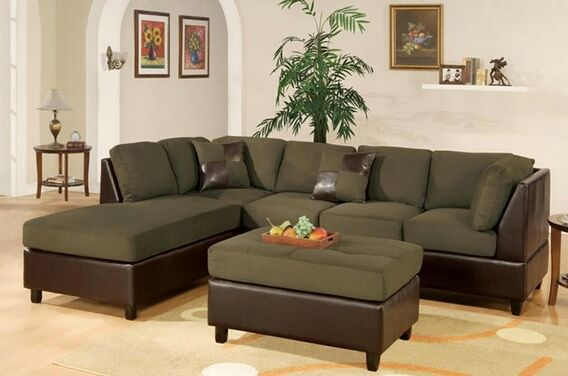 Tremendous Poundex F7620 3 Pc 2 Tone Sage Microfiber Sectional Sofa Bralicious Painted Fabric Chair Ideas Braliciousco