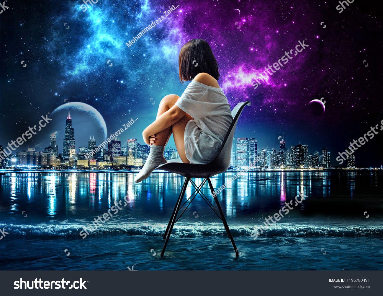 digital art of alone girl sitting on sea looking at galaxy