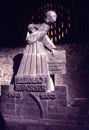 A statue of Copernicus carved in salt