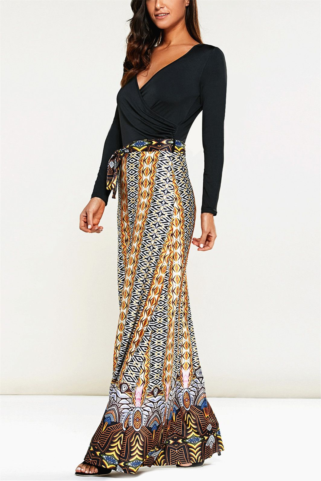 long sleeve print maxi dress black pinterest maxi