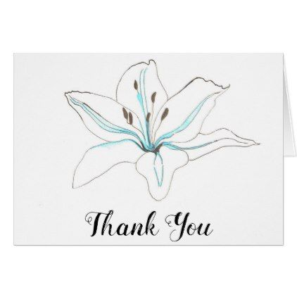 White Blue Flower Lilly Wedding Thank You Note Card Blue flowers