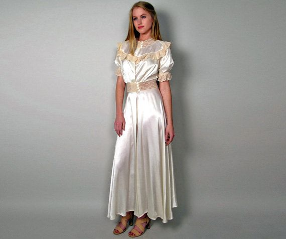 White Silk & Cream Lace Long Dressing Gown womens by tavernacular ...