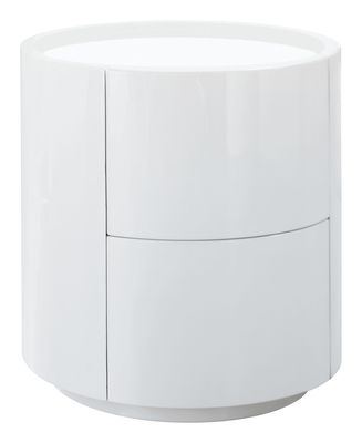 Dwell Sphere Gloss Bedside Table White 199 White Bedside
