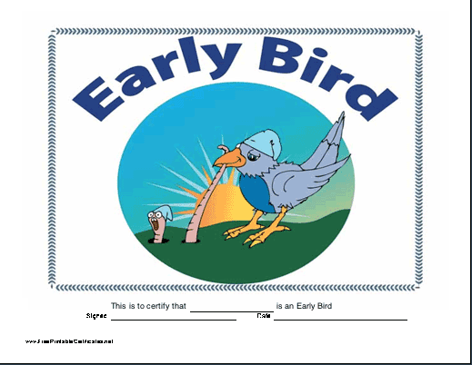 The early bird catches the worm in this funny certificate