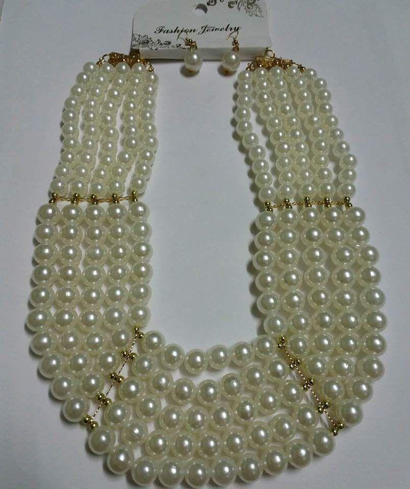 Grand Pearl Five Tier Neckpiece with Earrings