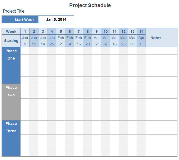 project plan template excel Project Schedule Template Pinterest