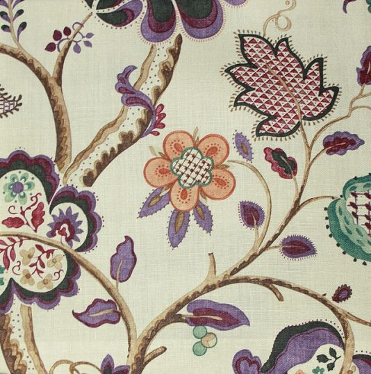 Roslyn Linen Fabric A Jacobean Tree Of Life Design Printed