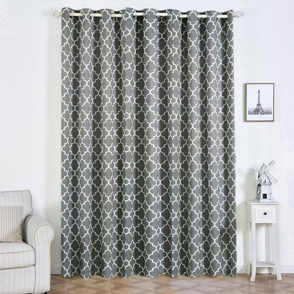 Trellis Curtain Panels Pack Of 2 White Charcoal Gray Blackout Curtains 52 X 108 Inch Grommet Curtains Noise Cancelling Curtains Clearance Sale Insulated
