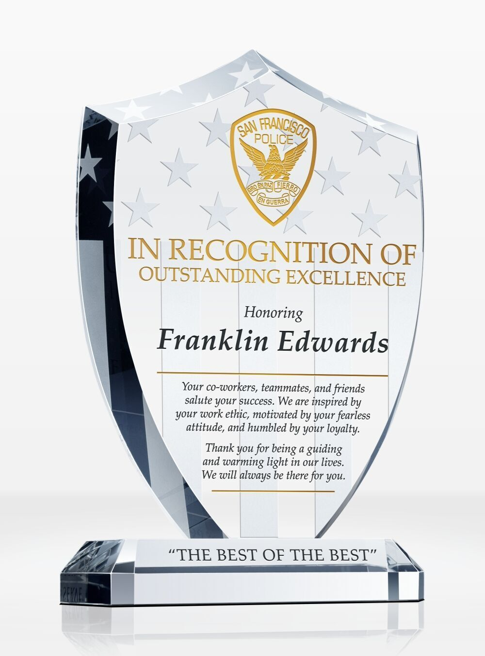 Police Shield Recognition Plaque Recognition Plaques Police Shield Plaque