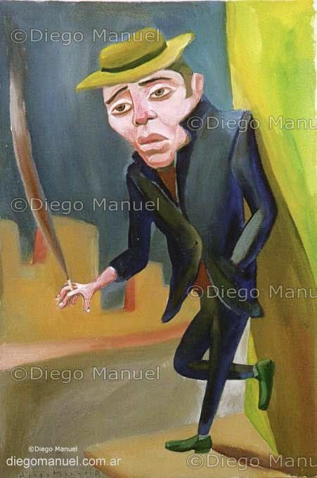 """""""Fumando espero 2"""", acrylic on canvas, 65 x 45 cm.  By Diego Manuel"""