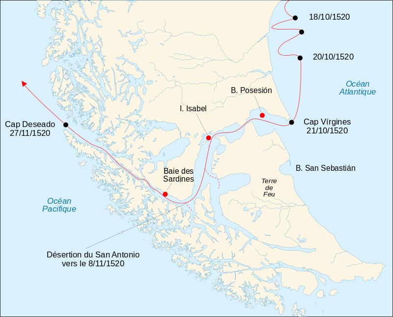 détroit de magellan carte du monde 49  Carte représentant le trajet des navires de Magellan dans le