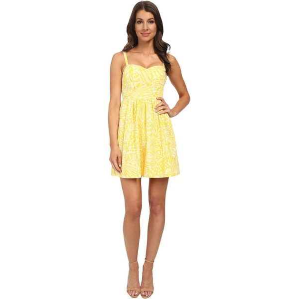 Lilly Pulitzer Christine Dress Women's Dress, Yellow ($135) ❤ liked on Polyvore featuring dresses, yellow, lilly pulitzer sundress, smocked sundress, yellow sleeveless dress, pocket dress et full skirt