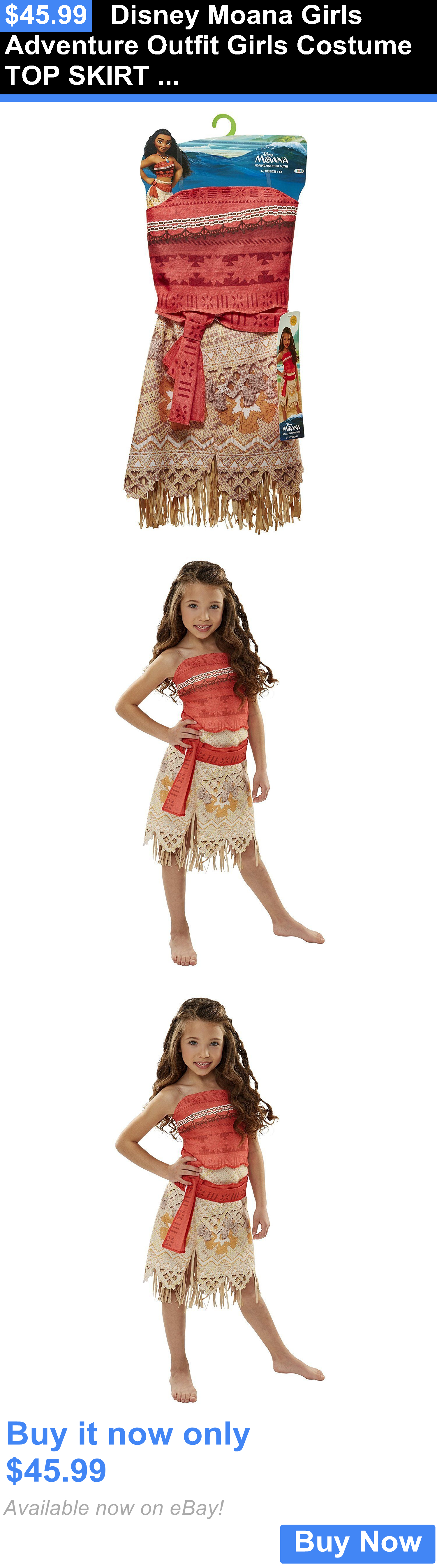 fb2ccde19 Halloween Costumes Kids: Disney Moana Girls Adventure Outfit Girls Costume  Top Skirt 4-6X BUY IT NOW ONLY: $45.99