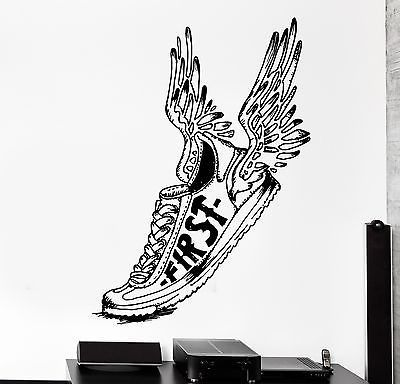 wall stcker sport winged shoe first running jogging vinyl on wall logo decal id=24635