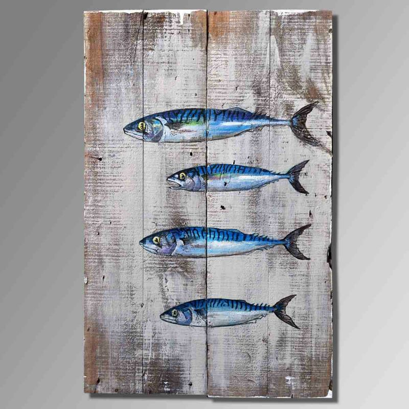 Wooden Fish Wall Decor fish oil painting theme, upscale old wooden hand painted oil