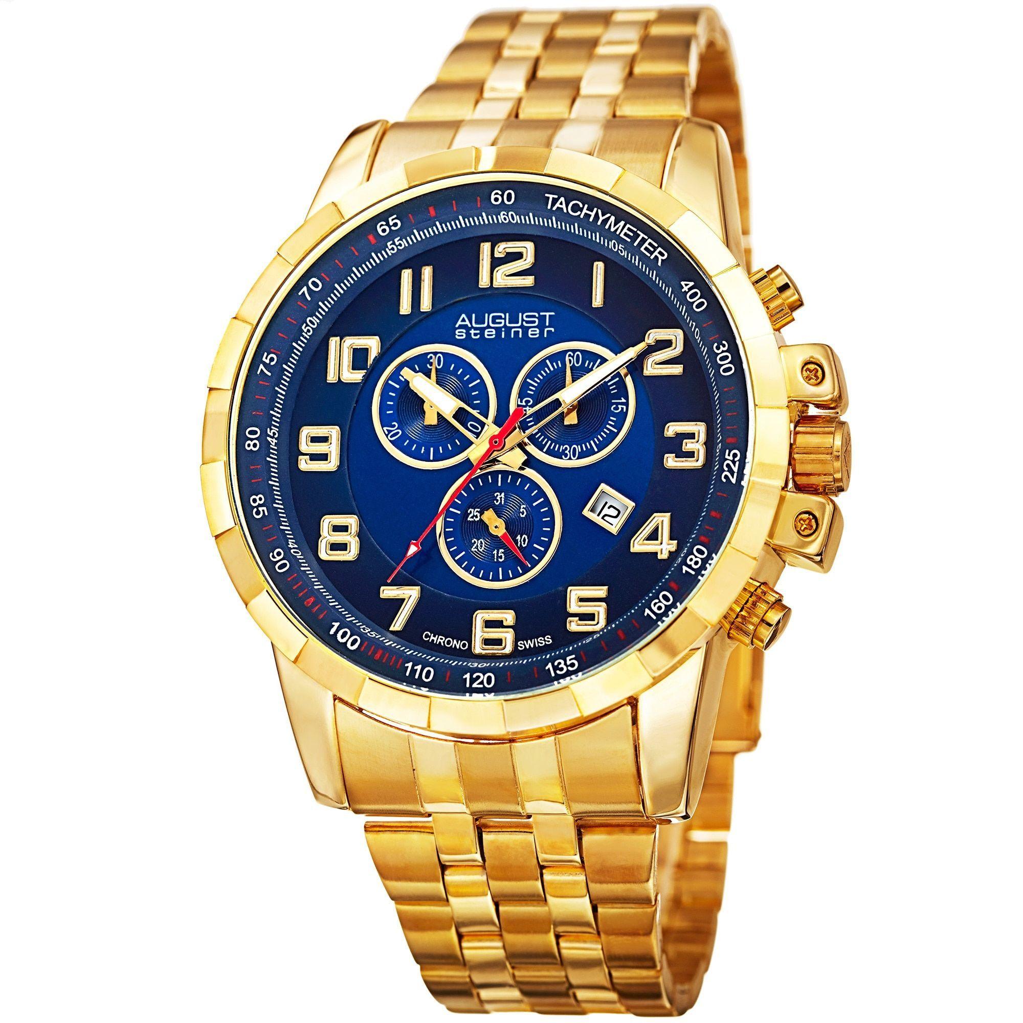 August Steiner Men's Swiss Quartz Chronograph Watch with Bracelet