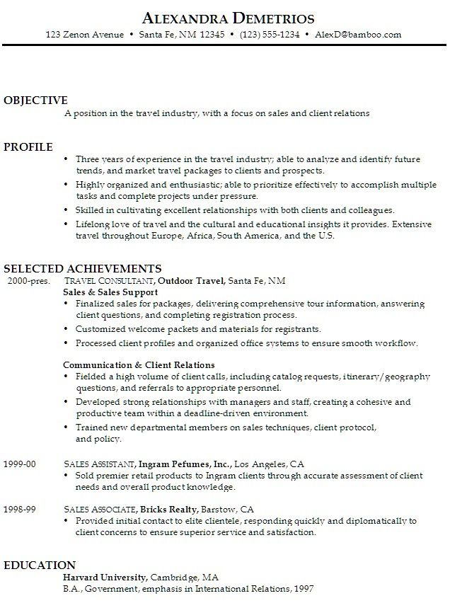 Sales Associate Resume Objective Statement #989 - http\/\/topresume - employee relations officer sample resume