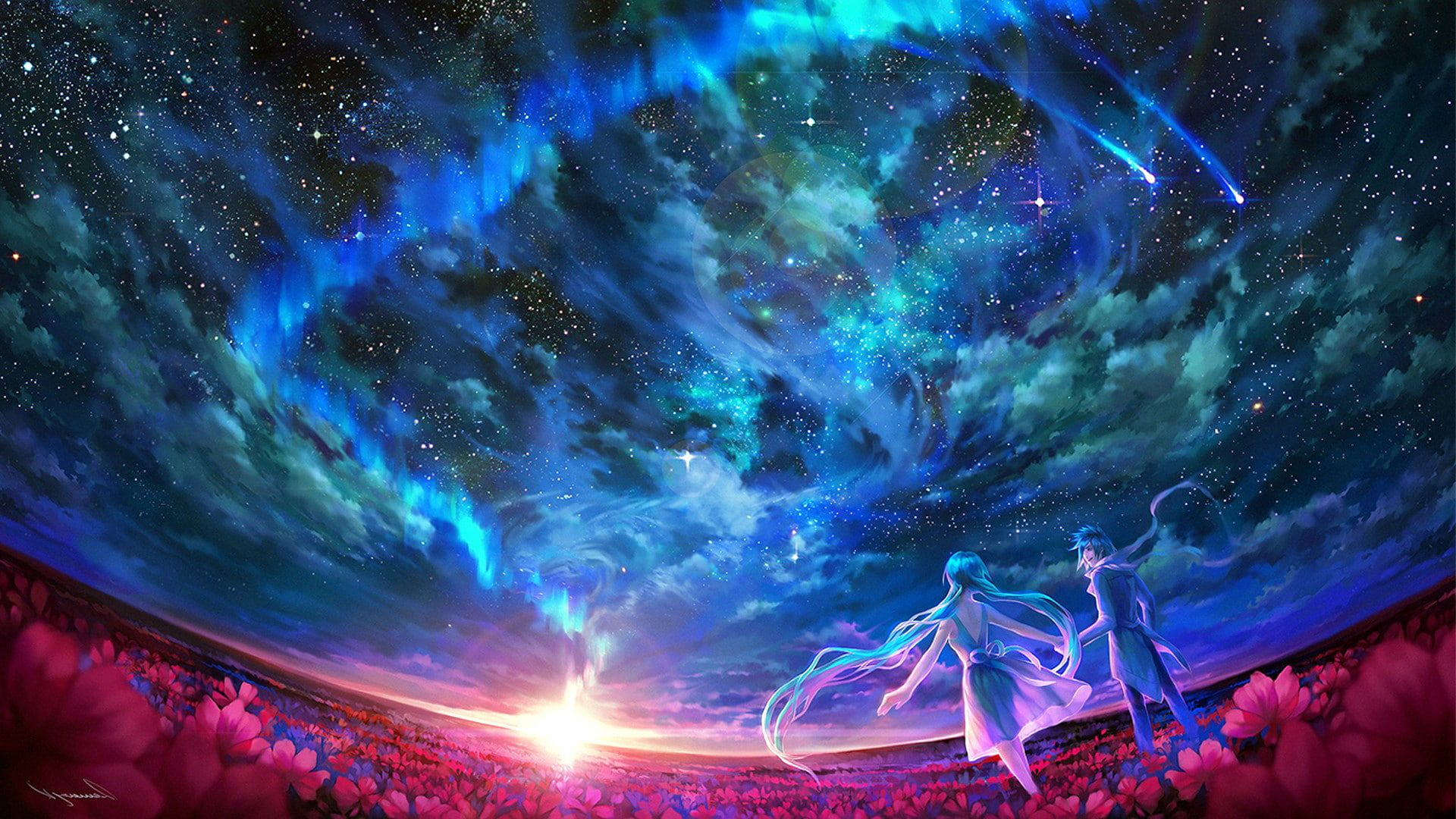 Pin By Liudmyla Grishchenko On X Sky Art Blue Anime Anime Galaxy