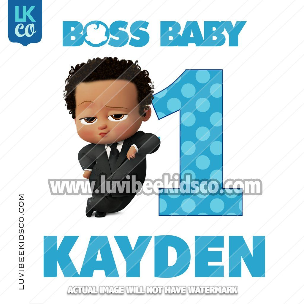 Boss Baby Iron On Transfer | African American Boy with Age