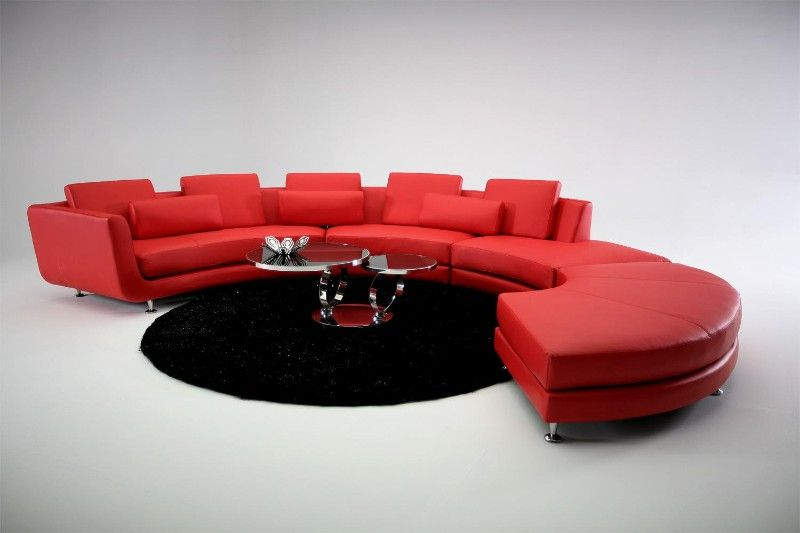 Credica - Curved Sectional #Sofa in Red Leather - Free Shipping ...