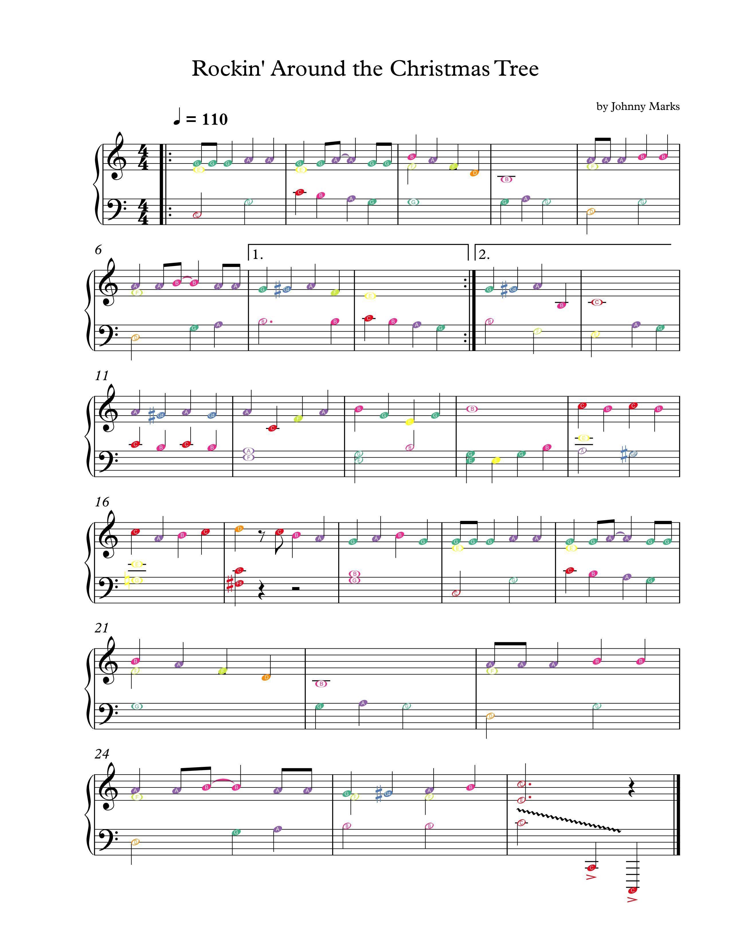 Rockin Around The Christmas Tree Piano Sheet Music.Rocking Around The Christmas Tree Boomwhackers 01