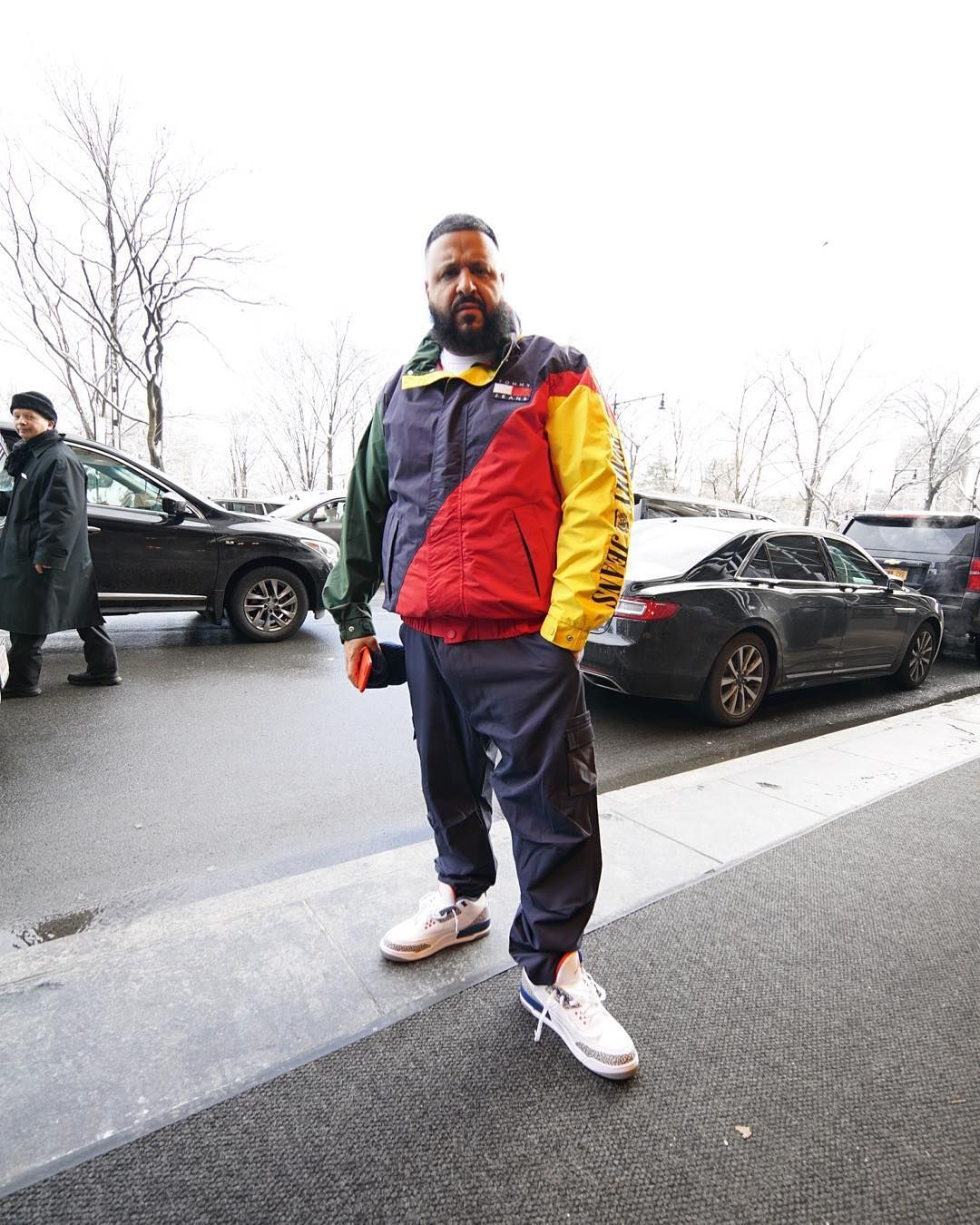 DJ Khaled wears a Tommy Hilfiger Jacket and Nike Air Jordan Sneakers  Menswear Rapper 9296b2bab