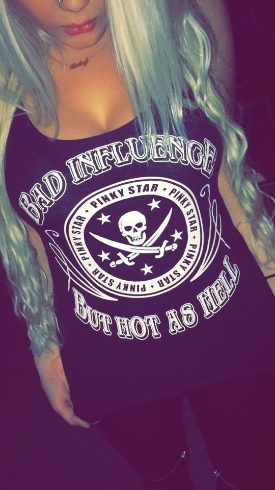I love my hair and clothing at this pic ! #bad #influence #but #hot #as #hell #skull #swords #sexy #clothing #long #platina #blonde #hair #nose #pin