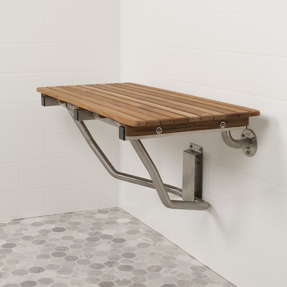 This stylish teak folding shower seat is built with accessibility ...