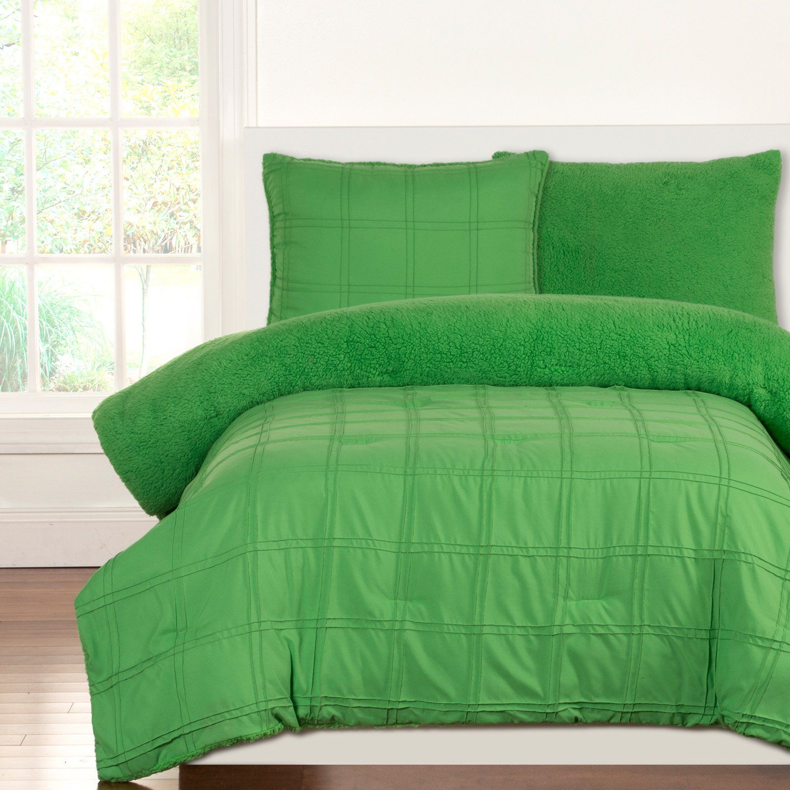 Playful Plush Square Comforter Set By Crayola Green Size Twin