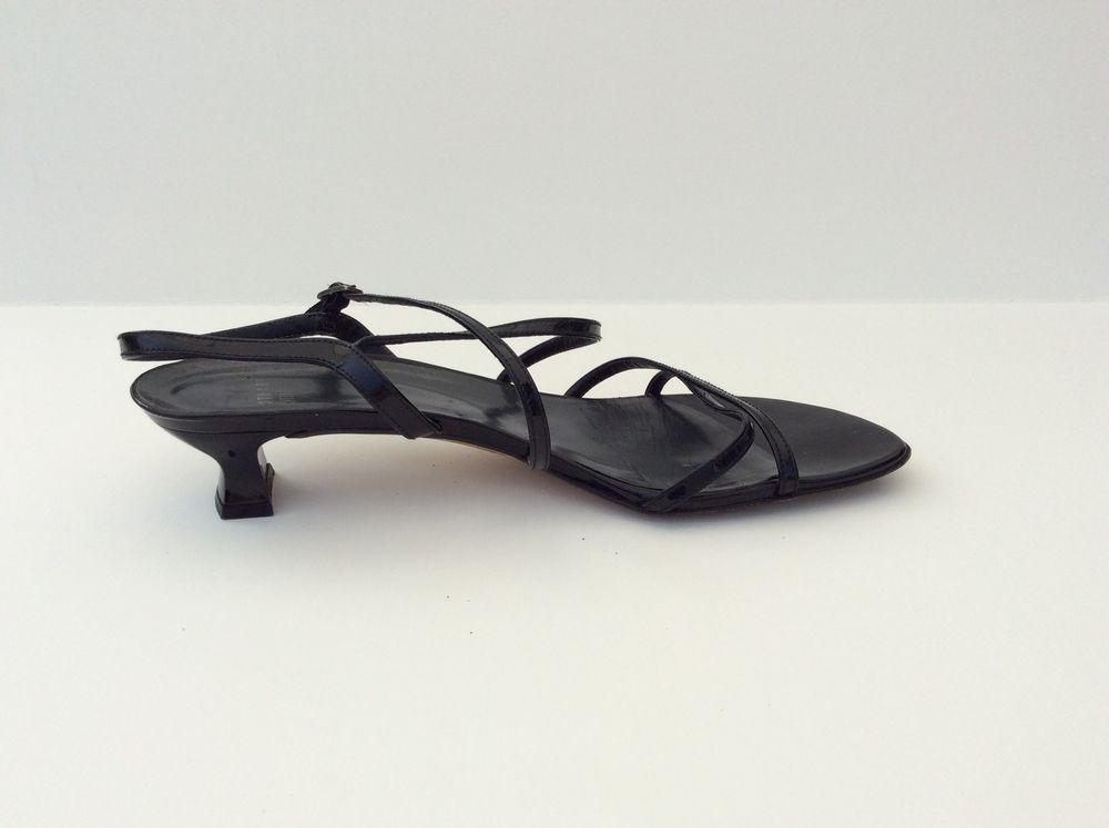 Nice Stuart Weitzman Women S Black Patent Leather Kitten Heel Sandals Size 8 5 Stuartweitzman Strappy Kitten Heel Sandals Womens Flip Flops Leather