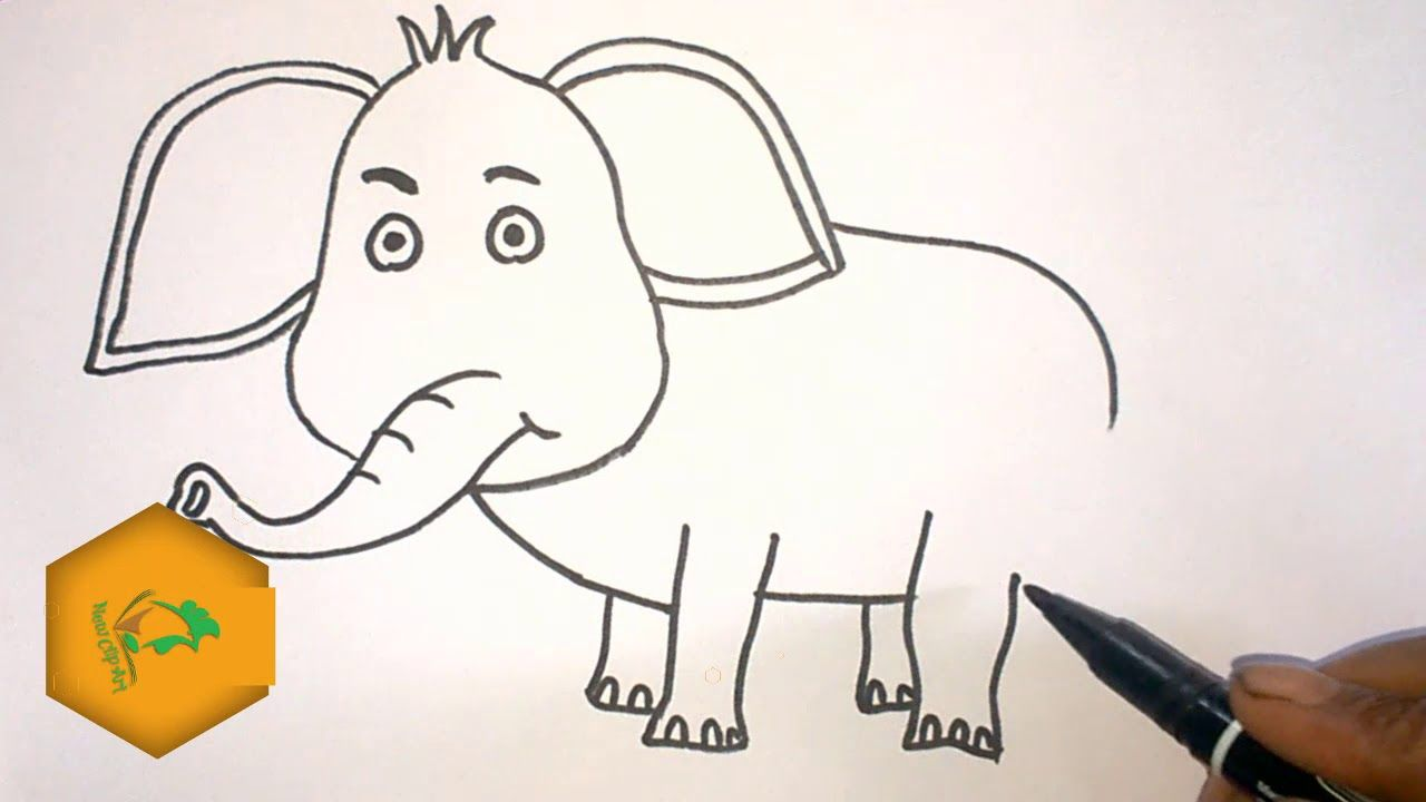 How to draw an 🐘elephant step by step for kids | 🐘elephant ...