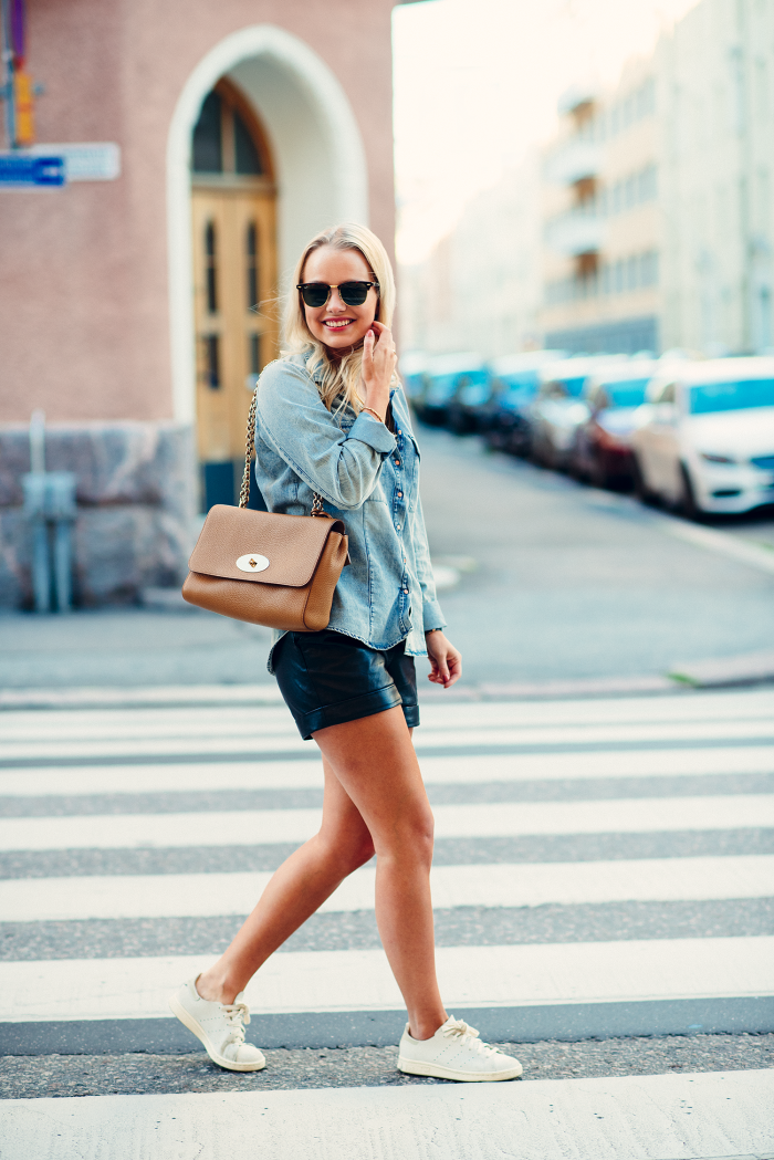 Denim Shirt with Leather Shorts