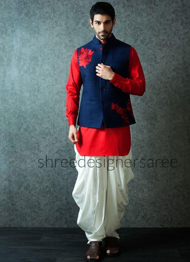 ab7513bc0b3 Preferable Red Silk Kurta With White Peshawari