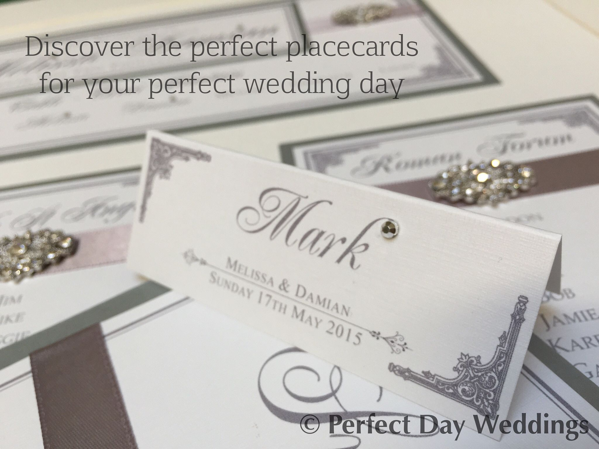 Sitting pretty! Silver luxury bespoke wedding placecard handmade by ...