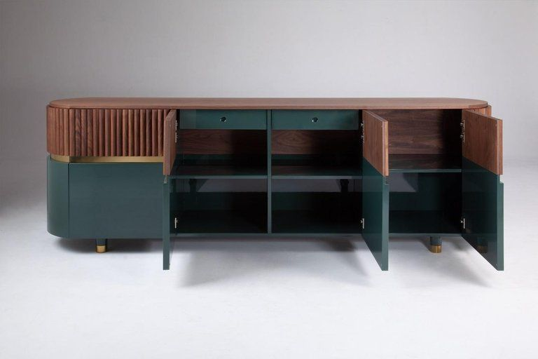 Portuguese London Contemporary Sideboard In Solid Walnut And Brass