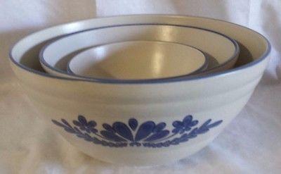Set Of 3 Pfaltzgraff Yorktowne Mixing Bowls Blue & White 6 8 10 ...