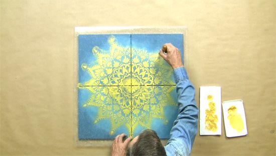 Create Custom Canvas Artwork Using A Mandala Stencil   Stenciling ...