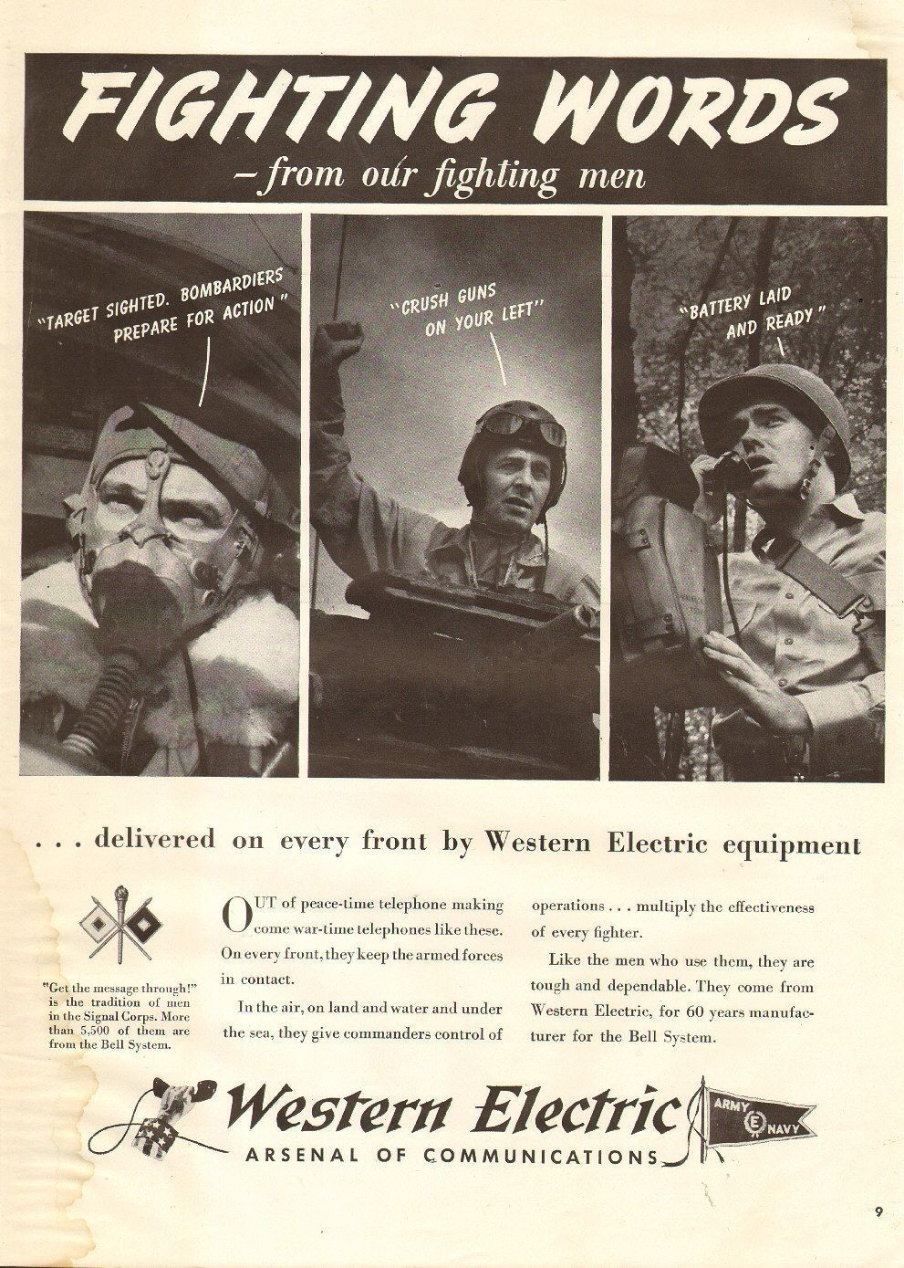1942 WW2 Ad Western Electric Communications on The Front Radio 022016 | eBay