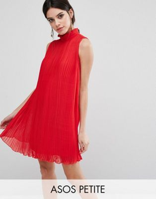 f315ca7e3472 ASOS PETITE Sleeveless High Neck Pleated Swing Dress