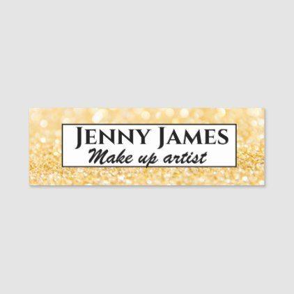Gold glitters background, custom name tag | Zazzle.com #goldglitterbackground