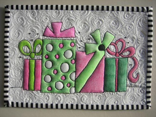 Happy Birthday Mug Rug by mamacjt, via Flickr coloring on fabric ...
